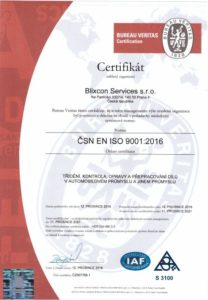 Blixcon Services – certifikat ISO 9001